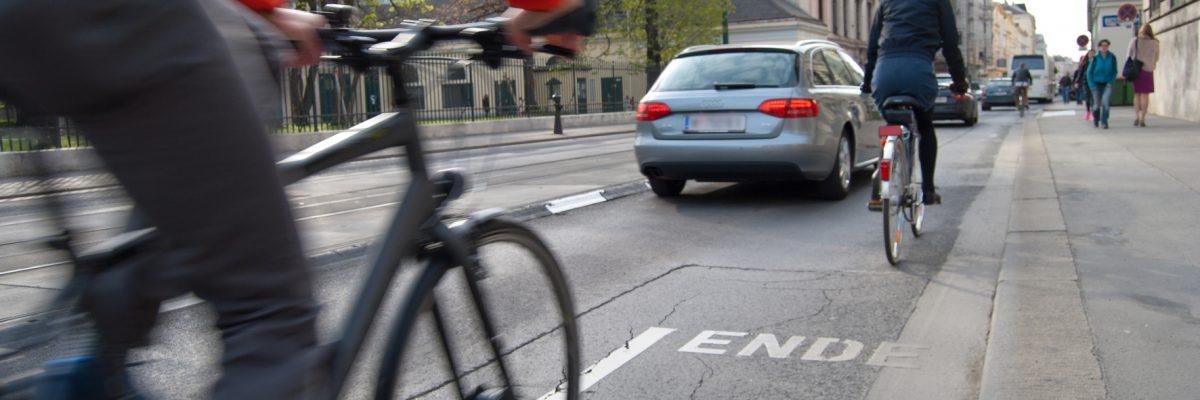 Radfahrer fährt auf Fahrradweg,