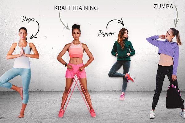 Frauen im Studio präsentieren Sportmode