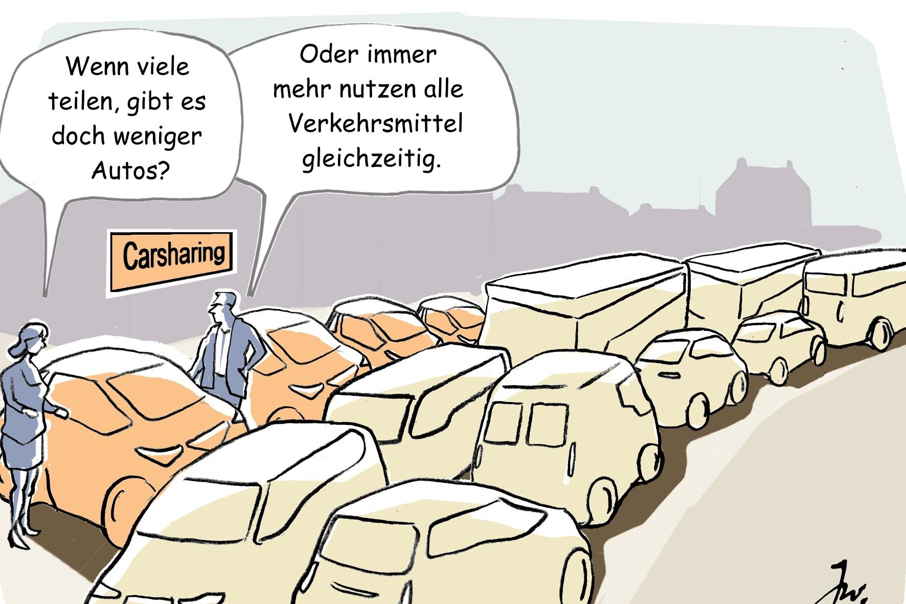 Comic Grafik Verkehrsstau